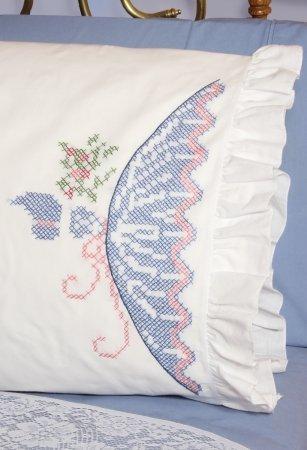 - Stamped Ruffled Edge Pillowcases 30x20 2/Pkg-Cross Stitch Lady