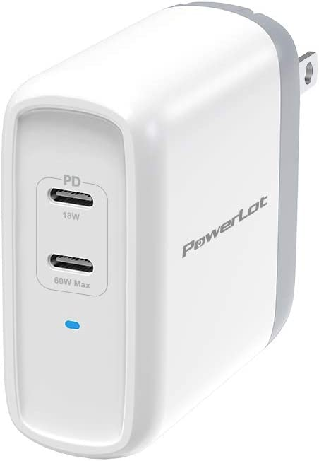 USB C Charger PowerLot Dual Port GaN PD 3.0 Fast Wall Charger with a 60W USB C Port Compatible with MacBook Pro/Air,iPad Pro,iPhone 11/Pro/Max, Galaxy S10 S9,Note 10/9, USB C Laptops and More