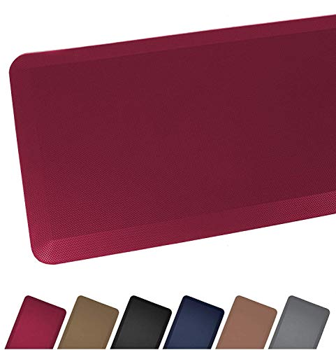 Anti Fatigue Comfort Floor Mat By Sky Mats - Commercial Grade Quality Perfect for Standup Desks, Kitchens, and Garages - Relieves Foot, Knee, and Back Pain, 20x32 Inch, Burgundy Red