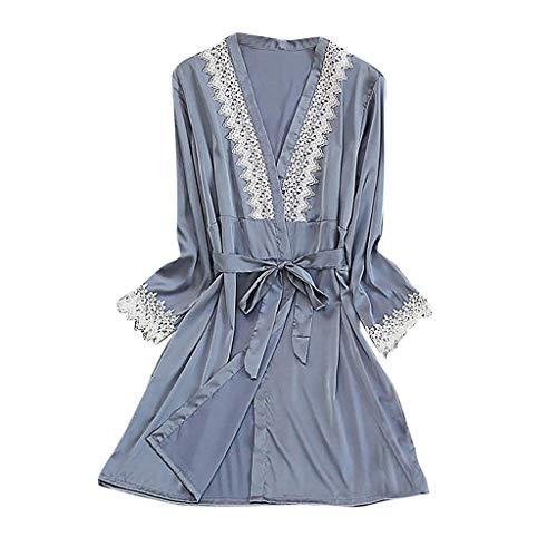 Women Pajamas,AIMTOPPY Womens Sexy Silk Lace Robe Long Sleeve Stain Bathrobe Summer Comfortable Sleepwear