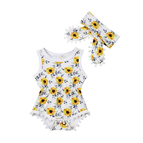 Newborn Baby Girl Sunflower Clothes Ruffle Sleeve Romper Bodysuit Spliced Jumpsuit Overalls Outfits with Headband Set (Yellow Sunflowers, 3-6 Months)