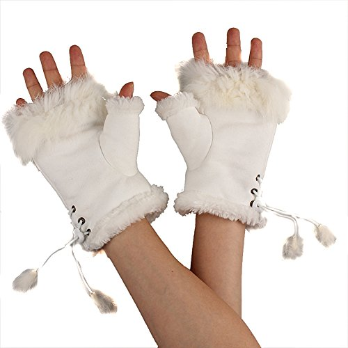 Ieasysexy Winter Hand Warmer Faux Rabbit Fur Leather Lady Fingerless Suede Mittens Women Winter Wrist Gloves (white)
