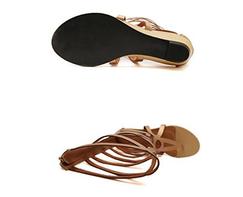 YCMDM Donne Hollow Stivali CALDI neri romani stile bovino Skin sandali 39 36 35 38 37 40 , gold , 39