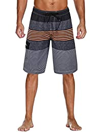 4f38ae654c9c3 Men's Swim Trunks Colortful Striped Beach Board Shorts with Lining