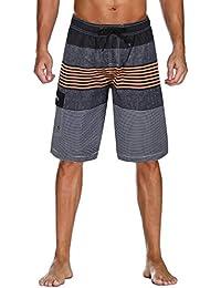 28317fda52e7e Men's Swim Trunks Colortful Striped Beach Board Shorts with Lining
