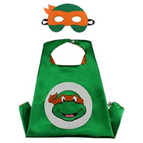 Superhero CAPE & MASK SET Kids Childrens Halloween Costume TMNT Michelangelo Turtle