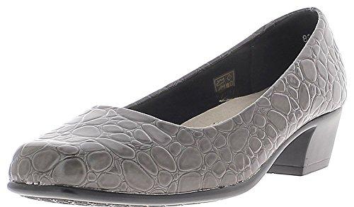 Chaussures Femme Chaussmoi Bloc Gris De 4 Talon Confortable Cm