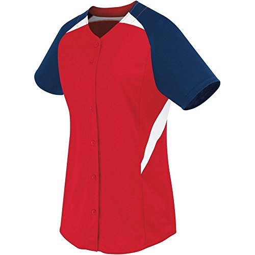 (High Five Womens Galaxy Full Button Jersey,Scarlet/Navy/White,Small)