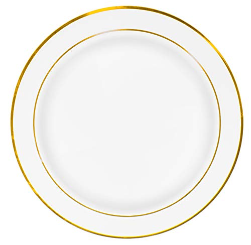 50 Premium Gold Rim Plastic Plates for Dinner Party or Wedding - 10 Inch White Gold Rimmed Disposable Plastics Plates -