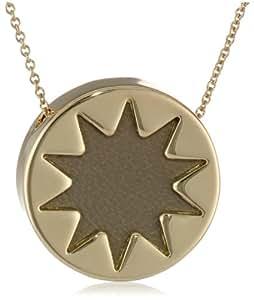 "House of Harlow 1960 Khaki Mini Sunburst Pendant Necklace, 18"""