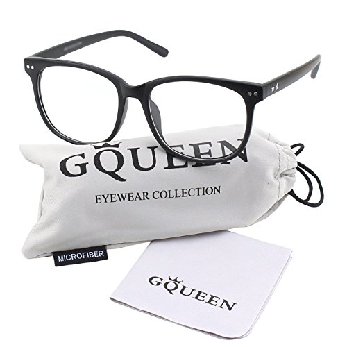 GQUEEN 201581 Large Oversized Frame Horn Rimmed Clear Lens Glasses,Matte - Clear Fake Glasses Nerdy