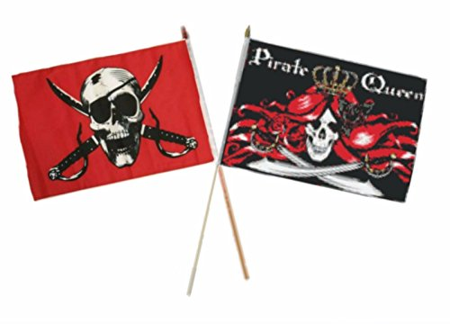 ALBATROS 12 inch x 18 inch Pirate Crimson with Queen Pirate Stick Flag for Home and Parades, Official Party, All Weather Indoors Outdoors