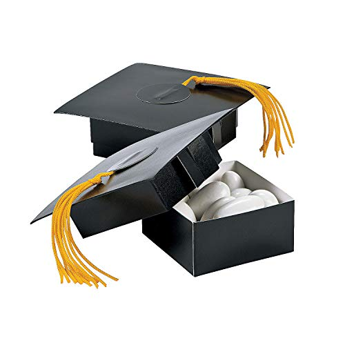Fun Express - Mortarboard Treat Box for Graduation - Party Supplies - Containers & Boxes - Paper Boxes - Graduation - 12 Pieces -