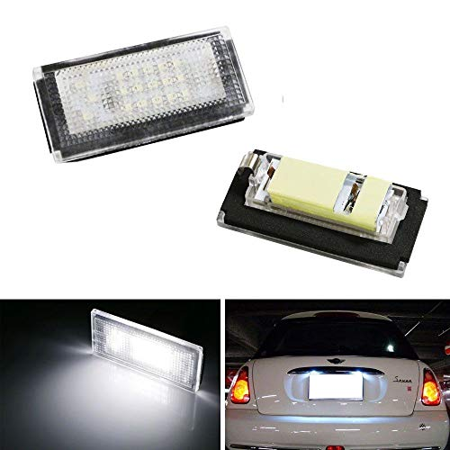 - iJDMTOY OEM-Fit 3W Full LED License Plate Light Kit For 2002-06 MINI Cooper Gen1 R50 R52 R53, Powered by 18-SMD Xenon White LED & Can-bus Error Free