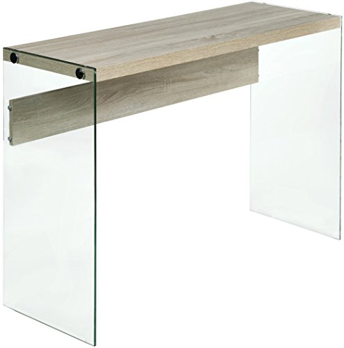 OneSpace 50-JN19CSLO Escher Skye Console Sofa Table, Wood and Clear Glass, Light Oak