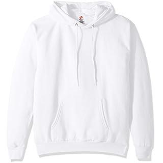 Hanes Men's Pullover EcoSmart Fleece Hooded Sweatshirt, White, Medium