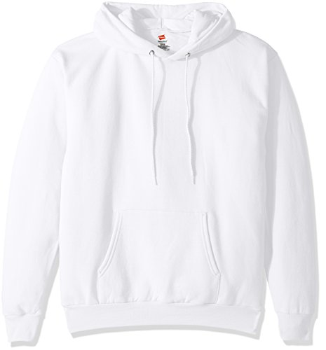Hanes Men's Pullover EcoSmart Fleece Hooded Sweatshirt, White, Medium ()