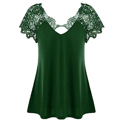 Hueco Sexy Manga De V Encaje Para T shirt En Mujer Moda Casual Ocasionales Verde Elegantes Camiseta Tops Cuello Ypinglonk Blusa Verano Corta OxwyEgaqA