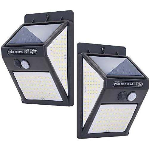 chollos oferta descuentos barato Luz Solar Exterior 140 LED Lámparas Solares con Sensor de Movimiento Luces Solares Led Exterior Impermeable con 3 Modos Inteligentes para el garaje del jardín Camino Negro