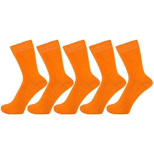 ZAKIRA Finest Combed Cotton Dress Socks in Plain Vivid Colours for Men, Women - Pack of 5 (Orange, US 7-12) (Mens Orange Dress Socks)