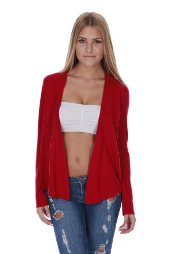 Open Front Flyaway Long Sleeves Casual Knit Cardigan (Small, Red)