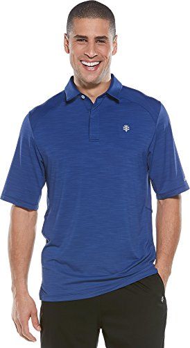 Coolibar UPF 50+ Men's Short Sleeve Performance Polo - Sun Protective (X-Large- Midnight Blue)
