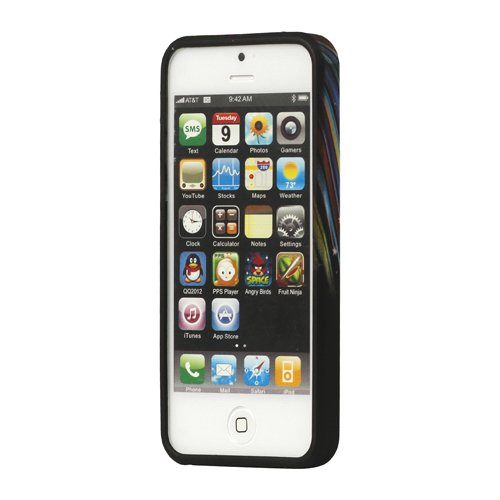 iProtect Schutzhülle iPhone 5 5s Hülle Sterne schwarz bunt