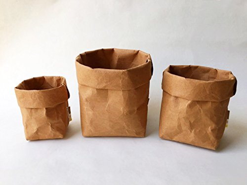 (Mini STORAGE BASKET SET : Kraft Paper Storage / Eco Bag / Paper Bag / Paper Basket / Stationary / Washable Paper Bag)