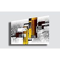 Quadro Moderno ASTRATTO - Quadri Moderni 70x100 cm stampa su tela Arredamento Arredo Arte Design Soggiorno Camera da letto Cucina (Astratto GRIGIO/GIALLO)