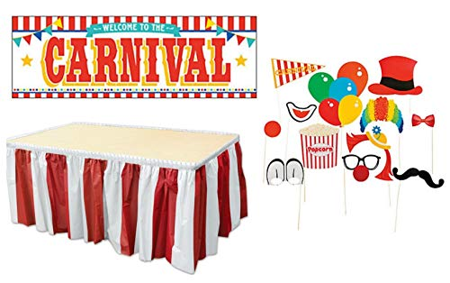 Carnival Party Decorations Pack: Red and White Striped Table Skirt, Carnival Photo Props, & Large Carnival -