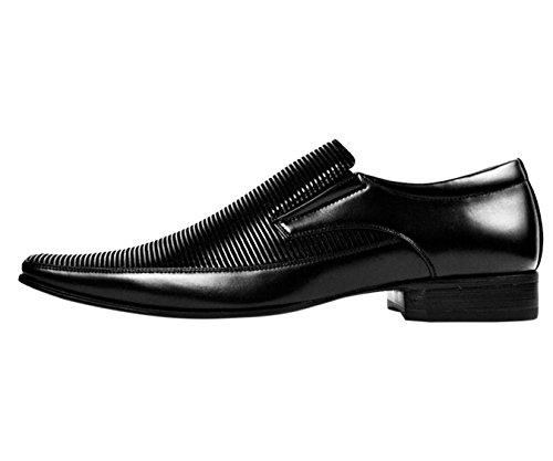 Amali Classic Mens Mocassino A Righe Orizzontali Nero Lucido Slip On Formal Dress Shoe: Style Yuma-000