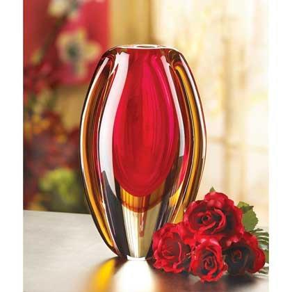 Home Vase Unique Red Art Teal Glass Flower Filler Tabletop Centerpiece Decorative - Galleria In Roseville