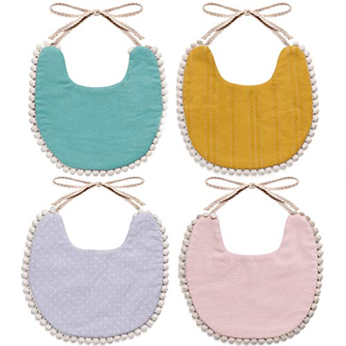 WIPALO Baby Bibs Cotton Absorbent Reversible 100% Cotton Absorbent Reversible for Newborn Infant Toddlers & Baby Shower and Gift ()