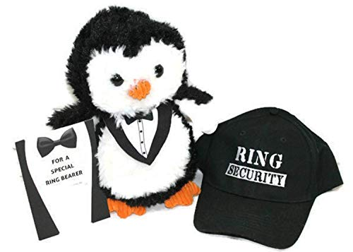 (Twisted Anchor Trading Co Ring Bearer Gifts - Ring Bearer Plush Penguin and Ring Security Kids' Hat Set with Gift Card Insert)
