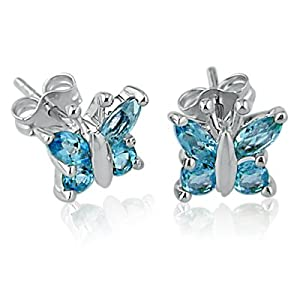 Swiss Blue Topaz Butterfly Stud Earrings set in Sterling Silver from Amanda Rose Collection