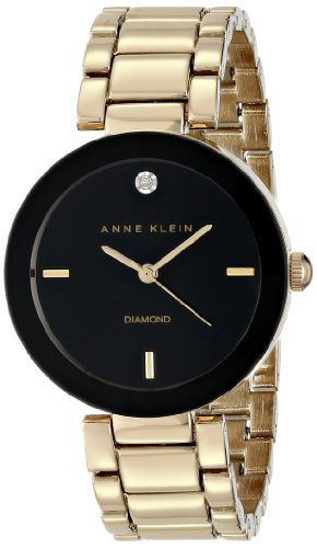 Anne Klein Womens AK1362BKGB Diamond Accented Black Dial Gold-Tone Bracelet Watch