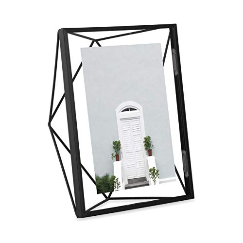 Umbra Prisma Picture Frame, 5x7 Photo Display for Desk or Wall, Black