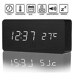 PentaBeauty Digital Alarm Clock, Temperature Date LED Display Wood Grain Clock 3 Levels Brightness Voice Control Modern Simplicity Wood Digital Clock (Alarm Clock)