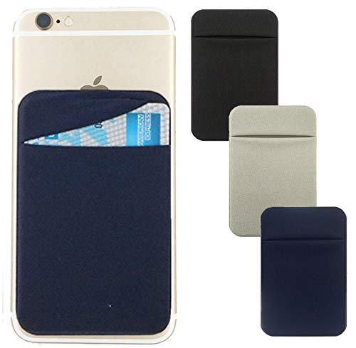 Adhesive Phone Pocket,Cell Phone Stick On Card Wallet,Credit Cards/ID Card Holder(Double Secure) with 3M Sticker for Back of iPhone,Android and all Smartphones-3 PACK-Black,Dark Blue,Grey