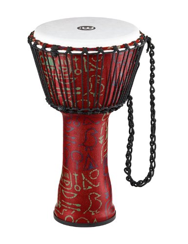 Meinl Percussion Travel Djembe with Synthetic Shell and Head-NOT Made in CHINA-10 Medium Size, Rope Tuned, Pharaoh's Script, 2-Year Warranty, 10'' (M) (PADJ1-M-F)
