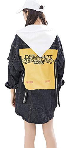 Removibile Donne Tasche Jacket Cerniera Cappotto Con Digitale Invernali Di Stampato Qualità Giacca Outdoor Anteriori Cappuccio Classiche Jeans Donna Alta Strappato Giacche Schwarz Coulisse 1OqvFd