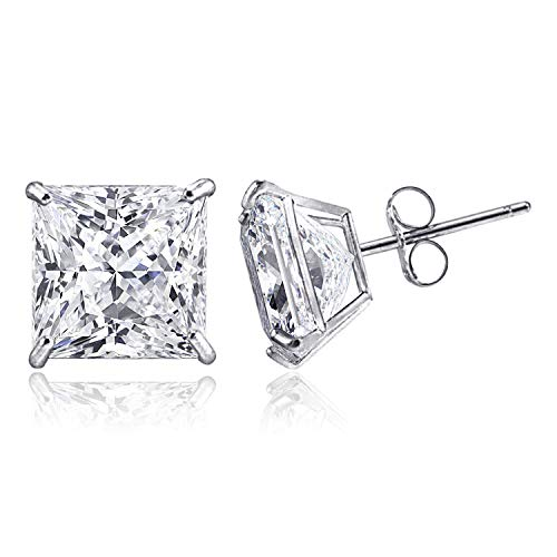 14K Solid White Gold Minimalist Princess-Cut Solitaire Cubic Zirconia Stud Post Earrings, 4 MM (0.39 CTW)