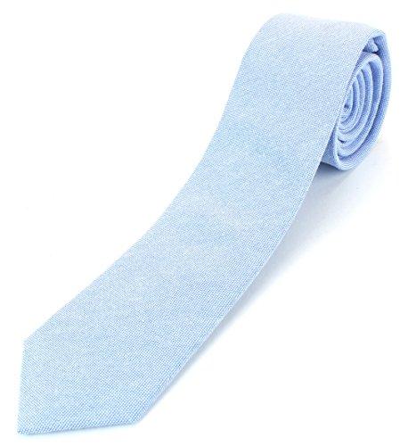 - Men's Cotton Skinny Necktie Tie Bright Oxford Weave Pattern - Light Blue