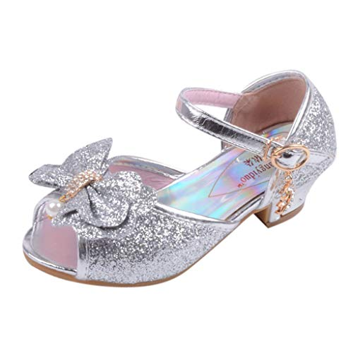 - Baby Sandals FAPIZI Kids Girls Pearl Crystal Bling Bowknot Shoes Crystal Sequins Gowns Single Princess Shoes Silver