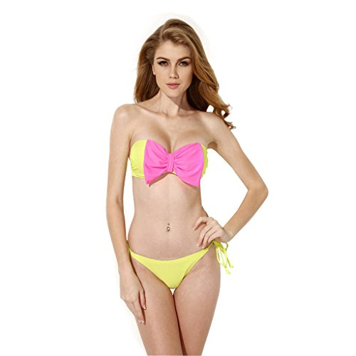 XSY Women Push Up Bikini Bowknot Add 2 Cup Swimsuit Color Greenish Yellow Size M
