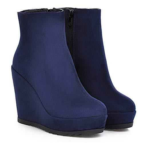 Tacon Mujer de Tobillo Azul Cuna Botas Cremallera JOJONUNU P5fnqxn