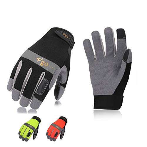 Vgo 3Pairs Synthetic Leather Work Gloves (Size L, 3Colors,SL7584)