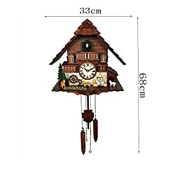 Black Forest Cuckoo Clock, Creative Handmade Carved Wall Clock Battery Operated Quartz Movement Roman Numerals for Home Office Decoration 68×33cm