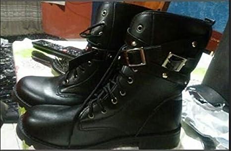 wangxiyan Stivali da Donna Vintage Rivetto Combat Army Punk