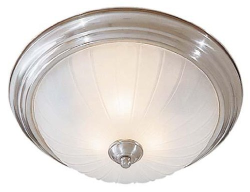 Minka Lavery Flush Mount Ceiling Light 830-84-PL Glass Fixture, 3 Light, 39 Watts Fluorescent, Nickel